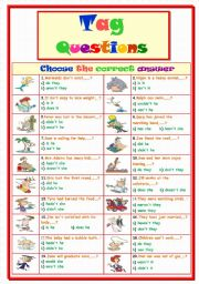English Worksheets: Tag Questions....