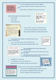 English Worksheet: EOI/ PET Reading Text.