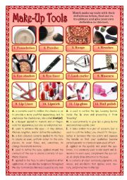 English Worksheet: Make-Up Tools
