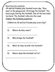 English Worksheets: Reading comprehension part 4