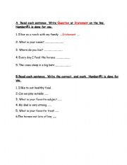 English Worksheets: Statemtent or question
