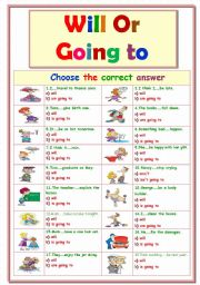 English Worksheet: Will + Going to ..