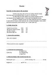 English Worksheets: Dustin