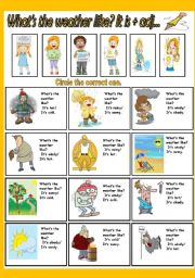 English Worksheet: What´s the weather like? It is+ adj