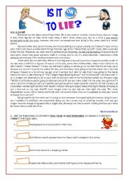 English Worksheets: Text, Comprehension & Grammar �Is it ok to lie�