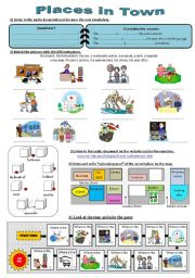 English Worksheet: Give directions - part 1 : Places in town  **answers & audio documents**
