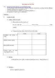 English Worksheet: American civil war