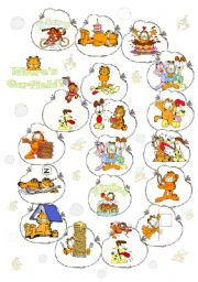 English Worksheet: Boardgame prepositions with Garfield