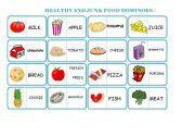 English Worksheet: healthy and junk food dominoes