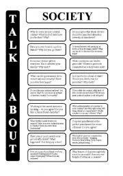 English Worksheet: Society - 18 conversation cards - upper-intermediate level (editable)