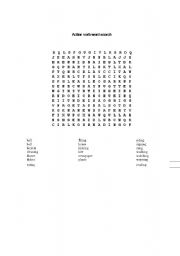 English Worksheets: action verb word search