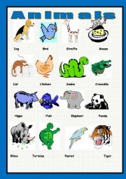 English Worksheets: My first Engish pictionary - 3 - animals