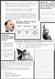 English Worksheets: Martin Luther King: reading +  comprehension activities+ writing activity