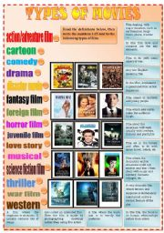 English Worksheet: Kinds of movie