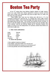 English Worksheet: BOSTON TEA PARTY