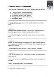 English Worksheet Freak The Mighty Creative