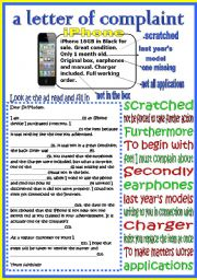 English Worksheet: a letter of complaint