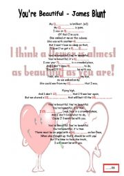 English Worksheet: You� re beautiful -James Blunt  + KEY