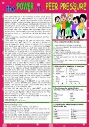 English Worksheet: PEER PRESSURE
