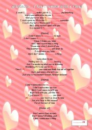 English Worksheet: I don�t wanna miss a thing - Aerosmith + KEY
