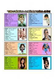 English Worksheet: The famous characters Game