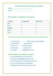 English worksheet: Test on degrees of comparison of adverbs