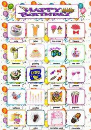 English Worksheet: ***HAPPY * BIRTHDAY*** PICTIONARY