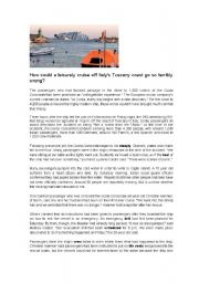 English Worksheet: How could a leisurely cruise off Italy�s Tuscany coast go so terribly wrong?