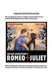 English Worksheet: Romeo and Juliet