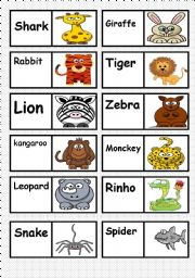 English Worksheet: ANIMALS DOMINO. FULLY EDITABLE AS YOU TEACH OR LIKE   ( 2/3 )