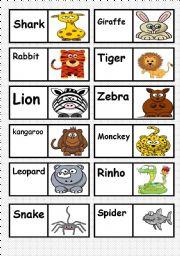 ANIMALS DOMINO. FULLY EDITABLE AS YOU TEACH OR LIKE   ( 2/3 )