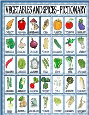 Vegetables and spices - pictionary