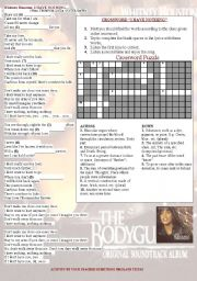 English Worksheets: WHITNEY HOUSTON - I HAVE NOTHING... CROSSWORD