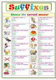 English Worksheet: Suffixes ....