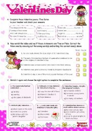 English Worksheet: Valentine�s Day  -   Listening activities  (video from youtube)