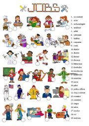 English Worksheet: JOBS - Picture dictionary - 1 of 7
