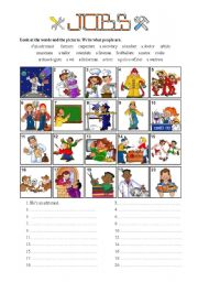English Worksheets: JOBS - Writing exercise - 5 of 7