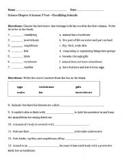 english worksheets 3rd grade classifying animals test. Black Bedroom Furniture Sets. Home Design Ideas