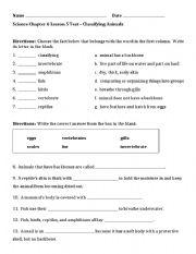 english worksheets 3rd grade classifying animals test. Black Bedroom Furniture Sets. Home Design Ideas