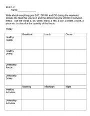 food diary worksheets