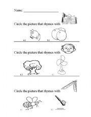 English Worksheet: Kinder Rhymes Worksheet