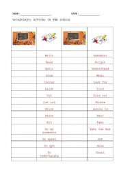 English Worksheets: vocabulary: actions in the school