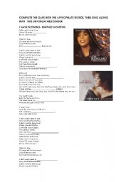 English Worksheets: Whitney Houston -I have nothing