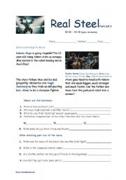 English Worksheets: Real Steel 2011 Movie Sheets