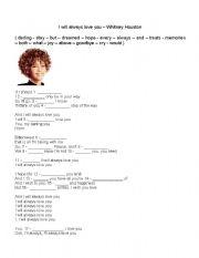 English Worksheet: I will always love you -  Whitney Houston