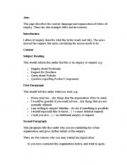 English Worksheets: letter of enquiry