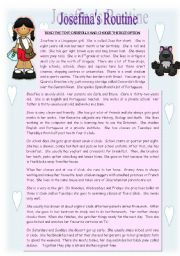 English Worksheets: JOSEFINA�S ROUTINE