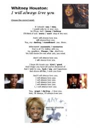 English Worksheet: Whitney Houston: I will always love you (with KEY and youtube link)