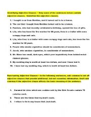 English Worksheet: Adjective Clauses