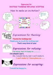 English Worksheets: Expressions for inviting,thanking,refusing and accepting.